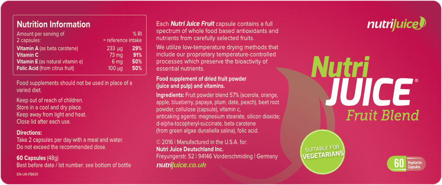 Nutri Juice Fruit Blend Label